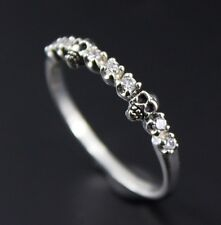 925 Sterling Silver Tiny Baby Skull Ring White CZ / Alternative Wedding Ring