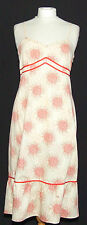 TED BAKER SUMMER DRESS CREAM WITH RED ABSTRACT FLOWER PRINT RIBBON DETAILS 10