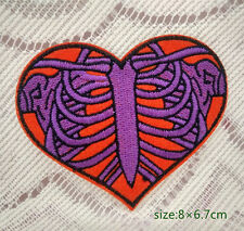 Heart Skeleton Rib Cage Rock Applique Iron On Patch Embroidered Punk Gift Undead