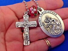 St CHRISTOPHER Trinity Cross Saint Medal Car Truck Rear View Mirror Auto Red