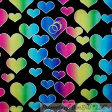 BonEful Fabric FQ Cotton Quilt Black Gold Rainbow HEART Metallic Glitter Hippie