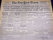 1946 MAY 19 NEW YORK TIMES - RAILROAD STRIKE IS POSTPONED FOR FIVE DAYS - NT 852