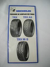michelin TRX AS FRENCH bibendum,european car vehicle  tire pressure guide folder