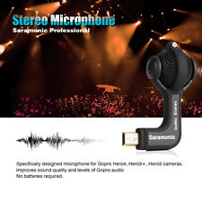 Saramonic Pro Stereo Microphone w/Mic Windscreen electret Condenser for GoPro
