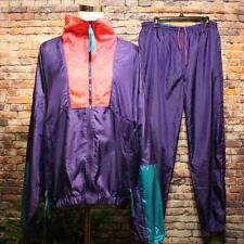 Vtg COLUMBIA Nylon Track Suit Jacket Pants Men's XL Radial Sleeve Purple Multi