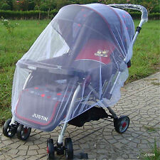 Cute Infants Baby Stroller Pushchair Mosquito Insect Net Safe Mesh Buggy-White
