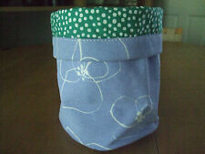 LOTTA JANSDOTTER SWEDISH MODERN 'BLOMSTER' BLUE SMALL CANVAS STORAGE BUCKET NWT