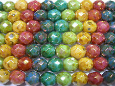 15 8mm Rainbow Picasso Luster Fire Polish Czech Glass Beads