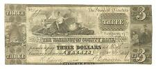 1839 CALAIS MAINE WAHINGTON COUNTY $3 BANK NOTE OBSOLETE CURRNECY THREE DOLLARS