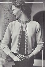 Vintage Knitting PATTERN to make Beaded Border Cardigan Sweater Jacket 50s Beade