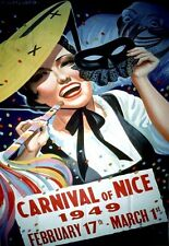 A3  Travel Art Poster Carnival of Nice 1949 Deco  Print
