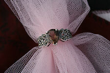 Vintage Sterling Silver Ring 925 RJ Filigree Light Brown Stone Quartz (?) Sz 6.5