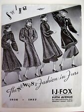 "Vintage 1936 ""I.J. Fox Furriers"" Catalog w/ Gorgeous Pictures of Furs   (N)"