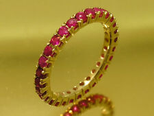 R122- Genuine 9ct SOLID Gold NATURAL Ruby FULL Eternity Ring Band size M