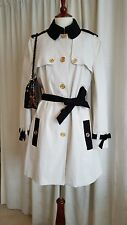 Moschino Ivory White Black Trim Gold Button Belted Trench Coat Jacket 48 14 New