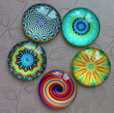 5 pcs 25mm Domed Round Cabochons Psychedelic pattern cabochon E007