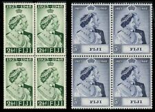 FIJI *GOOD AS GOLD*SILVER WEDDING 1948 SCARCE BLOCKS OF 4 MNH