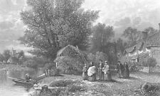 English Village, BABY CHRISTENING BAPTISM by RIVER, Old 1872 Art Print Engraving