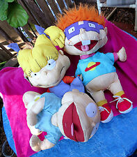 3 HUGE Vtg Nickelodeon Rugrats Swim Plush Dolls 1998 Tommy Baby Angelica Chucky