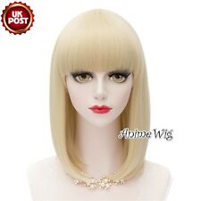 40cm Light Blonde Straight Medium Heat Resistant Anime Lolita Cosplay Wig+Cap