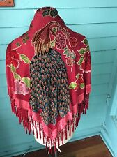 Red Velvet Silk Peacock  Hand Beaded Embroidered Piano Shawl Scarf