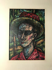"""Nice Lewis J Miller """"Portrait Of A Man"""" Encaustic Painting - Signed And Matted"""