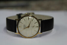 Vintage Vulcain 17 Jewels 14K Gold Black Leather Men's Watch Runs Great