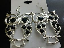 Earrings Lg Owl Silver Tone W Crystals in Black Clear Blue Pink Red and AB Clear