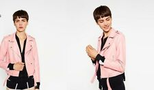 NEW ZARA WOMENS PRETTY IN PINK FAUX LEATHER ZIPPER MOTO STYLE JACKET. L