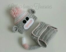 NEW Newborn Baby Girl Sock Monkey Hat and Diaper Cover Crochet Photo Prop Gift