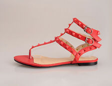 Fashion Women's Roma Sandal Rivets Flat Heel Punk Strap Casual Flip Flops Shoes