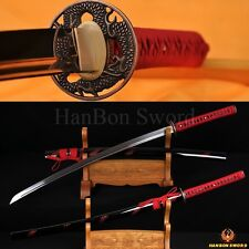 1095 Steel Katana Samurai Japanese Dragon Sword Wood Saya Full Tang Blade Sharp