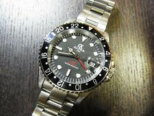 ALPHA GMT-MASTER BLACK INSERT MATTE BLACK DIAL AUTOMATIC WATCH*Ebay Lowest Price