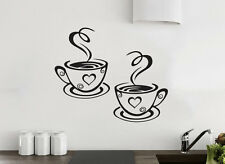 2 Coffee Cups Kitchen Wall Tea Sticker Vinyl Decal Art Restaurant Pub Decor Love