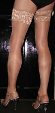 Extra Long Just Tan 15 Denier LaceTop Satin Sheen Hold Up Stockings Hi Quality