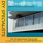 Pin Fix Frameless Balustrade Package + Top Mount S/Steel Handrail & Components