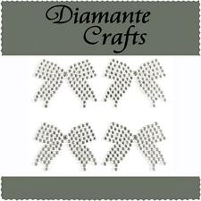 4 x 33mm Clear Diamante Bows Self Adhesive Craft Rhinestone Gems