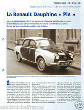 "Renault Dauphine ""Pie"" Police Nationale PP Administration France FICHE POLICE"
