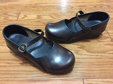 Sanita Marcelle Mary Janes Clogs Women's 7.5/38 Brown Leather Shoes