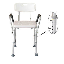 Medical Bathtub Chair Bath Bench Shower Seat Stool Adjustable w/ Back and Arms