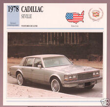 1978 Cadillac Seville Car Photo Spec Sheet Info Stat French Atlas Card
