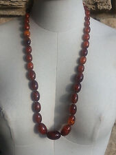 Vintage Genuine Natural Baltic Amber Necklace Graduated Oval Beads 60 gram