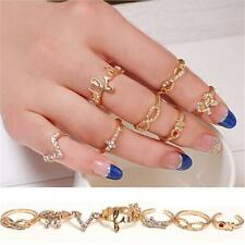 7PCS Women Ladies Middle Finger Knuckle Tip Rings Set Gift Party Jewelry RingsF