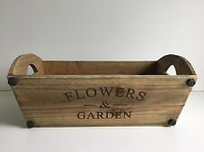 * NEW VINTAGE RUSTIC WOODEN TROUGH PLANTER flowers garden herbs storage box .