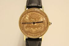 VINTAGE RARE GOLD PLATED SWISS MEN'S WATCH WITH USA TWENTY DOLLARS COIN DIAL