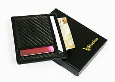 Credit Card Holder Carbon Fibre Leather trim RFID Protected