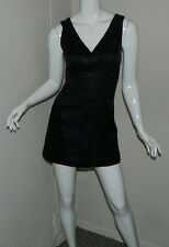 Women Bebe Sexy Paisley Black Blue Sleeveless Cocktail  Party Dress Size XS
