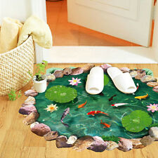 3D Lotus Fish Pool Floor/Wall Sticker Removable Mural Decal Living Room Decor