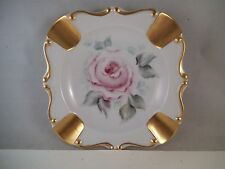 Vintage Rene Pink Roses Ashtray Porcelain