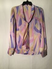 Vintage ESCADA 100% Silk Long Sleeved Neck Tie Shirt Top Blouse Size 40 EUC